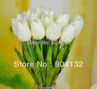 "20pcs 35cm/13.78"" Length Single Head Real Touch PU Tulips Bouquet Flower Decorative Flowers"
