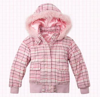wholesale 8pcs Autumn winter pink cute Children Child girl Kids baby Plaid hoody hooded short coat jacket outwear top WM1433