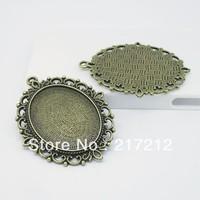 10pcs/lot vintage bronze metal alloy bronze filigree cameo cabochon base setting 30*40mm jewelry blank