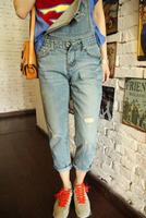2014 Spring Summer Women Jumpsuit Overalls Pencil Wid Loose Trousers Rompers pants Fashion Slim Bib 2XL Cotton Brand Denim