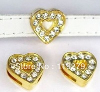 1pc 8mm Golden Color heart Slide Charms