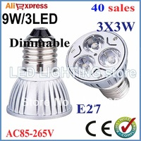FREE SHIPPING 40pcs/lot GU10 E27 MR16 9W 3LED 85-265V High power LED Bulb Spotlight Downlight Lamp LED Lighting
