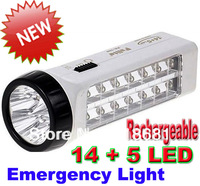 Hot sale Portable 14+5 LED Flashlight 19 LED Rechargeable Emergency Light White Retail packaging Free shipping