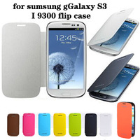 Back cover flip leather case battery housing case for Samsung Galaxy S3 i9300 pcs free shipping screen protector for SIII I 9300