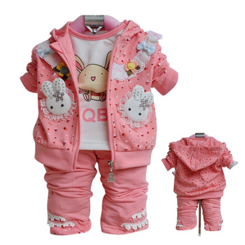 Children's clothing 2013 autumn set female child baby clothes baby clothes fashion child three piece set