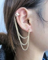 Wholesale Jewelry New Arrival Stylish Chains Tassel Ear Cuff Gold Tone 1684