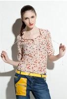 1pc/lot New Fashion Casual  Lady Apricot Long Sleeve Chiffon Red Bird Print Womens T Shirt Tops Blouse 651088