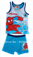 boy summer spiderman suit kids cartoon clothing set item NO.5264