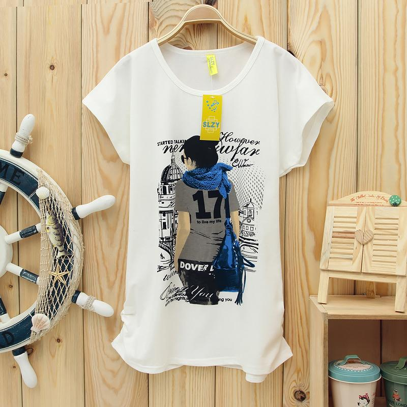 A2 Free shipping Wholesale Womens Cheap Fashion Lady in 17 Prints T-shirt / T Shirts 1 Color 1pcs/lot(China (Mainland))