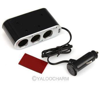 1pcs free shipping Triple 3 Way Car Cigarette Charger Socket Adapter USB Port 80529