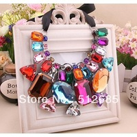 {Min.order $15}Wholesale Multi Size Stone  fashion trend Short Colorful Necklace Party  Gift Free shipping