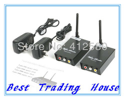 Free Shipping ! 2.4GHz Wireless Audio Video AV Transmitter Receiver (black )(China (Mainland))