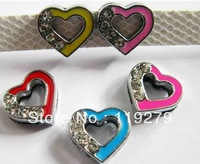 1pc 8mm half rhinestone mixed color heart Slide Charm