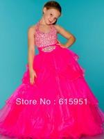 Halter Top Little Girl Pageant Dress Rhinestone Covered Halter Top Hot pink Pageant Dress JY244