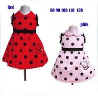 New beautiful girls dot sleeveless dress noble princess fashion summer cartoon hello kitty pink / red dress