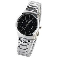 Sinobi Women's Watch Strips Marks with Round Dial Steel Watchband - Silver
