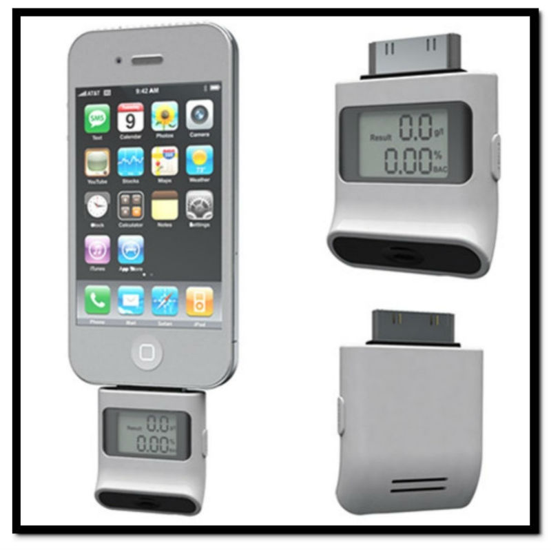 LCD Breath Alcohol Analyser Tester Breathalyser For iPhone 4 4S iPad iPod Black/White Wholesale 10pcs/lot Free Shipping(China (Mainland))