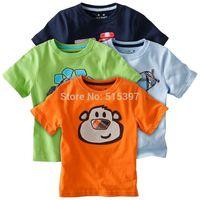 Hot saling, 2014 cartoon graphic patterns baby short-sleeve T-shirt male child T-shirt Free shipping