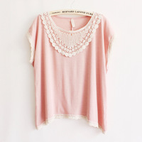 Factory price Lace gentlewomen batwing shirt casual loose short-sleeve T-shirt