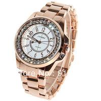 Sinobi Women's Watch 12 Numbers Marks Round Dial with Diamonds Steel Watchband - Gold