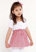 OK Freeshipping summer black red plaid Children Girl Kids baby sweet short sleeve shirt / blouse with hem clothing top PDXZ01P12