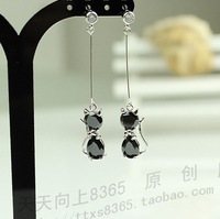 free shipping Elegant zircon earrings crystal cat earrings cat stud women's long design earrings