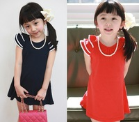 2013 summer laciness girls clothing baby one-piece dress necklace free shipping