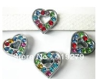 1pc 8mm Mix Color Rhinestone Heart Slide Charms DIY Accessories