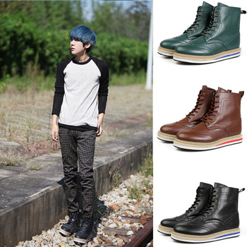 Autumn single shoes elevator casual leather platform shoes platform shoes casual fashion japanned leather straw braid male shoes
