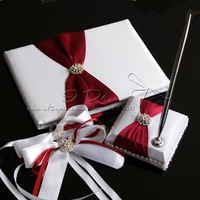 Free Shipping Pure Elegant Wedding Guest Book and Pen Set in Satin With Decorative Bows Wedding Ceremony Supplies