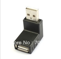 Free Shipping 8PCS USB2.0 Malce TO Female  90D Low Profile Right  Angle Adapter Black
