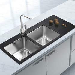 Boya platinum quality glass basin 304 stainless steel kitchen sink slot bs1a52(China (Mainland))