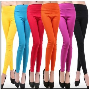 Spring and autumn plus size slim elastic 100% high waist cotton candy color female skinny legging pants trousers