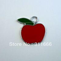 Free shipping Apple 100 pcs/lot  zinc alloy enamel charms pendants h004
