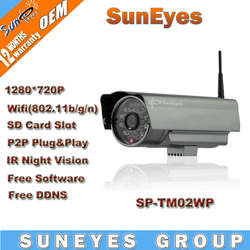 SunEyes 720P 1.0 Megapixel HD IP Camera Wireless Outdoor P2P Plug and Play IR CUT SD Card Slot SP-TM02WP(China (Mainland))