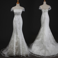 2012 slit neckline princess bag tube top fish tail royal classic lace short trailing wedding dress formal dress