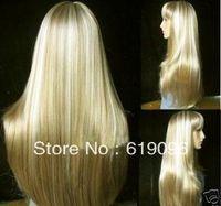 Beautiful Fashion long blonde straight human made hair wig + weaving cap