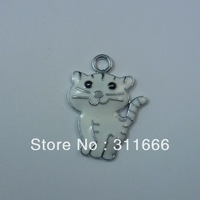 Free shipping Cat 100 pcs/lot  zinc alloy enamel charms pendants h038