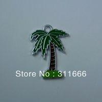 Free shipping coconut tree 100 pcs/lot  zinc alloy enamel charms pendants h035