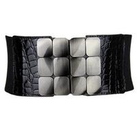 Ultra wide metal of diamonds horsehair leopard print women's elastic waist belt decoration