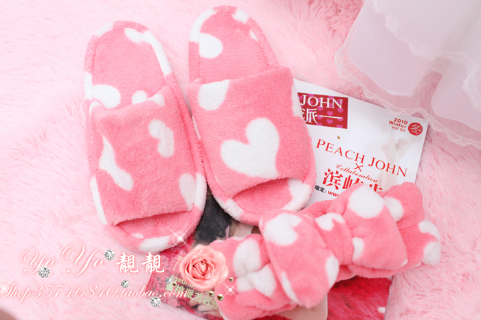 High quality peach sweetheart open toe slippers home tenfolds 0.3kg(China (Mainland))