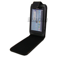 BLACK FLIP LEATHER CASE COVER POUCH + LCD FILM FOR NOKIA N8