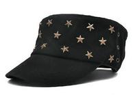 2013 NEW Classic Designer Metal Star Men Flat Military Hat Ladies Cotton Army Caps Mens Flex Fit Cap Hats Womens Headwear S46