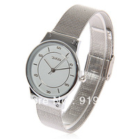 Exquisite Sinobi Steel Band Circle Case Wrist Watch with Numerals & Strips Hour Marks for Women - Silver