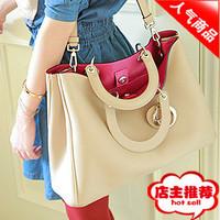 2012 chili color block bossdun decoration nude color quality formal handbag cross-body women's handbag