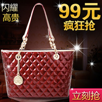 Bag 2013 bags fashion japanned leather plaid fashion one shoulder portable women's handbag