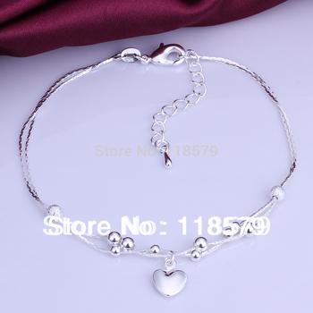 Ювелирные изделия серебро 925 ножной браслет твердые в форме сердца кулон ножные ...