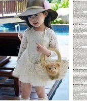 2013 Summer girls lace dress flower ruffle dress kids lece dress for girls 100% cotton  wholesale free shipping 5 PCS