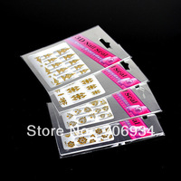 Flower Nail Stickers 30PCS/lot 3D Sticker Decal Gold Flowers & Rhinestone Nail Rrt Decal MR01-30