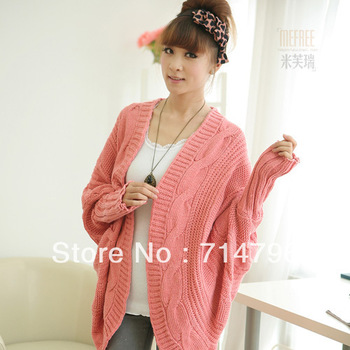 free shipping Spring sweet batwing shirt loose plus size clothing sweater outerwear women's long-sleeve cardigan